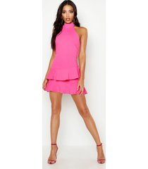 halterneck double ruffle mini dress, hot pink