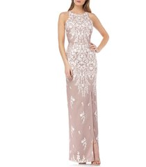 women's js collections floral embroidered mesh evening dress, size 16 - pink