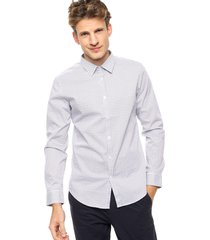 camisa blanca calvin klein l/s geo print shirt cllr n