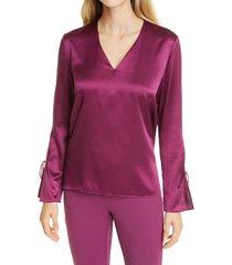 women's boss ialore tie cuff silk blouse, size 18 - purple