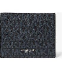 mk portafoglio a libro greyson sottile con logo - blu ammiraglio/blu pallido (blu) - michael kors