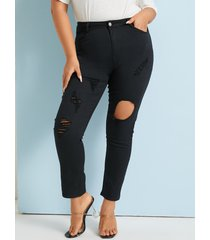 botón de detalles rasgados aleatorios de talla grande diseño jeans