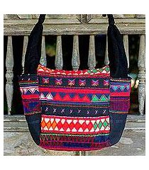 cotton shoulder bag, 'the carnival' (thailand)