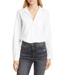 frank & eileen barry denim shirt, size x-large in white tattered denim at nordstrom