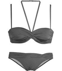 bikini lascana grijs 2-delig bandeau bikiniset met meerdere standen