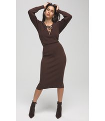 women's good american rib midi skirt, size 3 - brown