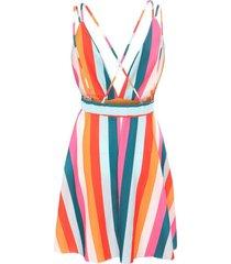 mini vestidos de verano para mujer cuello v playa sol boho vestido de rayas ocasionales