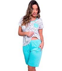 pijama bella fiore modas estampado com bolso hadassa verde ãgua - verde - feminino - poliã©ster - dafiti