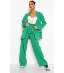 baggy wide leg broek met geplooide taille, emerald