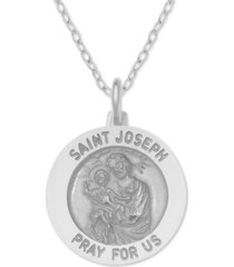 """st. joseph medallion 18"""" pendant necklace in sterling silver"""