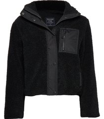 dad fleece coat sweat-shirt trui zwart abercrombie & fitch