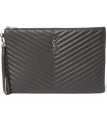 saint laurent large monogram matelasse leather pouch - grey