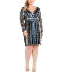 adrianna papell plus size embellished sheath dress