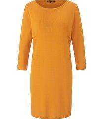 gebreide jurk met 3/4-mouwen van comma, geel