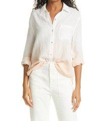 rails ellis cotton shirt, size medium in white blush dip dye at nordstrom