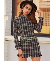 yoins black check tassel details stand collar long sleeves dress