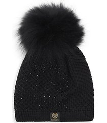 embellished fox fur pom-pom beanie