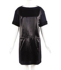 marni black wool satin knee length dress black sz: m
