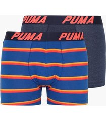 puma puma basic boxer 2p stripe boxershorts navy/red