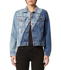 hudson women's classic-fit denim trucker jacket - shadow - size xs