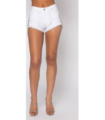 akira catherine chain denim shorts