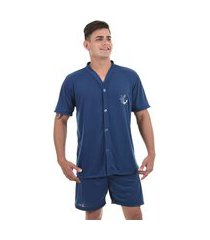 pijama masculino ayron manga curta botão 084 liso detalhe bordado - cores sortidas