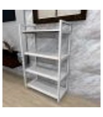 aparador industrial aço cor branco 60x30x98cm (c)x(l)x(a) cor mdf branco modelo ind48bapr