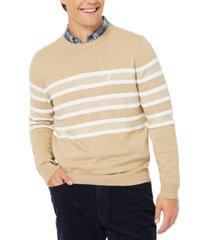 nautica men's textured stripe crewneck sweater