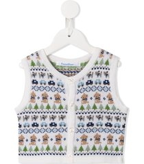 familiar sleeveless knitted patterned cardigan - multicolour