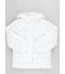 jaqueta infantil puffer estampada de estrelas com capuz e bolsos off white