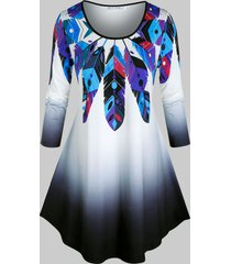 plus size dreamcatcher feather print long sleeve tunic tee
