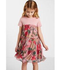 t-shirt dress flounces flowers - red - 13/14