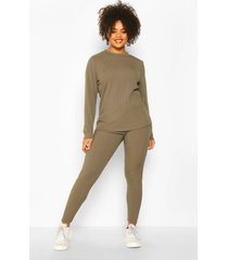 plus rib long top + legging co-ord, khaki