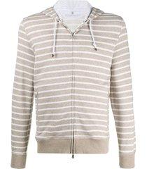 brunello cucinelli striped hoodie - brown