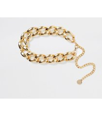 river island womens gold colour chunky chain waist belt