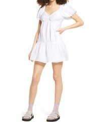 women's bp. puff sleeve taffeta dress, size large - white