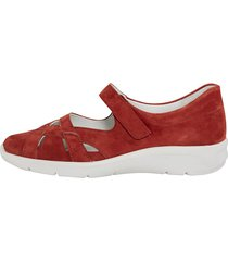 skor med kardborrerem vid vristen naturläufer röd