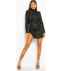 glimmende mini jurk met hoge hals en lange mouwen, black