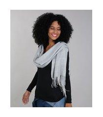 lenço feminino com franjas cinza