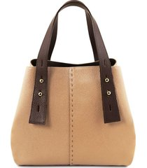 tuscany leather tl141730 tl bag - borsa shopping in pelle champagne