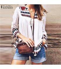 zanzea plus s-5xl de las mujeres de la linterna de la manga blusa suelta frente abierto de la blusa étnico cover up -rojo