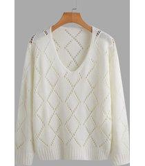 casual hollow diseño suéter de manga larga con cuello en v