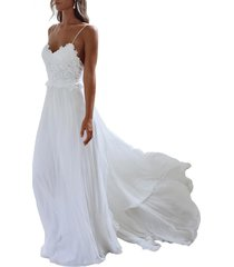 lace chiffon beach wedding dresses spaghetti straps boho bohemian bridal dress