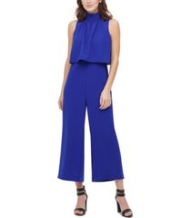 dkny solid high-neck popover jumpsuit