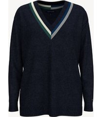 tommy hilfiger women's essential deep v-neck sweater masters navy - xxs