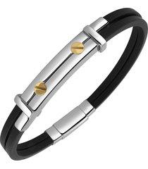 forzieri designer men's bracelets, men's stainless steel and rubber screws bracelet