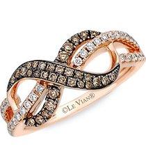 chocolatier® 14k strawberry gold®, vanilla diamond® & chocolate diamond® ring