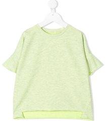 andorine oversized flared trim t-shirt - green