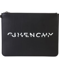 givenchy logo print leather pouch