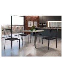 conjunto de mesa de jantar grécia com tampo de vidro mocaccino e 4 cadeiras atos couríssimo preto e grafite